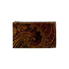 Copper Caramel Swirls Abstract Art Cosmetic Bag (small)  by Nexatart