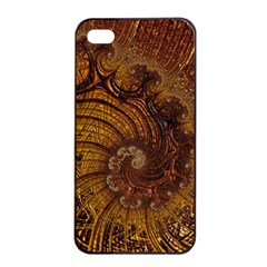 Copper Caramel Swirls Abstract Art Apple Iphone 4/4s Seamless Case (black) by Nexatart
