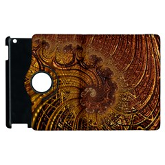 Copper Caramel Swirls Abstract Art Apple Ipad 3/4 Flip 360 Case by Nexatart