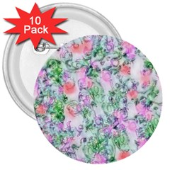 Softly Floral A 3  Buttons (10 Pack)  by MoreColorsinLife