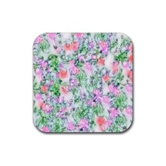 Softly Floral A Rubber Square Coaster (4 Pack)  by MoreColorsinLife