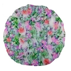Softly Floral A Large 18  Premium Round Cushions by MoreColorsinLife