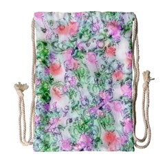 Softly Floral A Drawstring Bag (large) by MoreColorsinLife