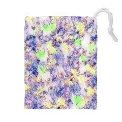 Softly Floral B Drawstring Pouches (extra Large) by MoreColorsinLife