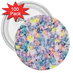 Softly Floral C 3  Buttons (100 Pack)  by MoreColorsinLife