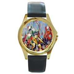 Abstractionism Spring Flowers Round Gold Metal Watch