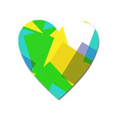 Green Yellow Shapes        Magnet (heart) by LalyLauraFLM