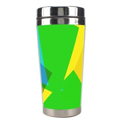 Green Yellow Shapes        Stainless Steel Travel Tumbler by LalyLauraFLM
