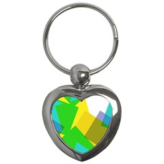 Green Yellow Shapes        Key Chain (heart) by LalyLauraFLM