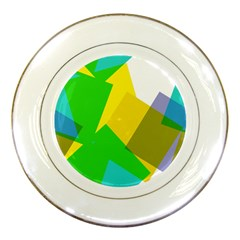 Green Yellow Shapes        Porcelain Plate by LalyLauraFLM