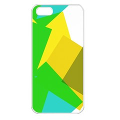 Green Yellow Shapes  Apple Iphone 5 Seamless Case (white) by LalyLauraFLM