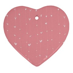 Pink Background With White Hearts On Lines Ornament (heart) by TastefulDesigns