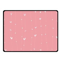 Pink Background With White Hearts On Lines Fleece Blanket (small) by TastefulDesigns