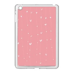 Pink Background With White Hearts On Lines Apple Ipad Mini Case (white) by TastefulDesigns
