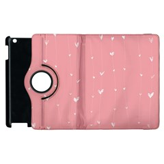 Pink Background With White Hearts On Lines Apple Ipad 2 Flip 360 Case by TastefulDesigns