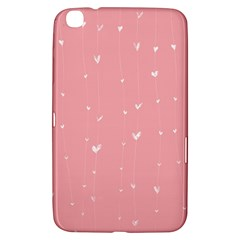 Pink Background With White Hearts On Lines Samsung Galaxy Tab 3 (8 ) T3100 Hardshell Case  by TastefulDesigns