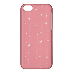 Pink Background With White Hearts On Lines Apple Iphone 5c Hardshell Case by TastefulDesigns