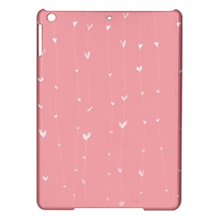 Pink Background With White Hearts On Lines Ipad Air Hardshell Cases by TastefulDesigns