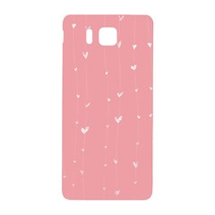 Pink Background With White Hearts On Lines Samsung Galaxy Alpha Hardshell Back Case by TastefulDesigns