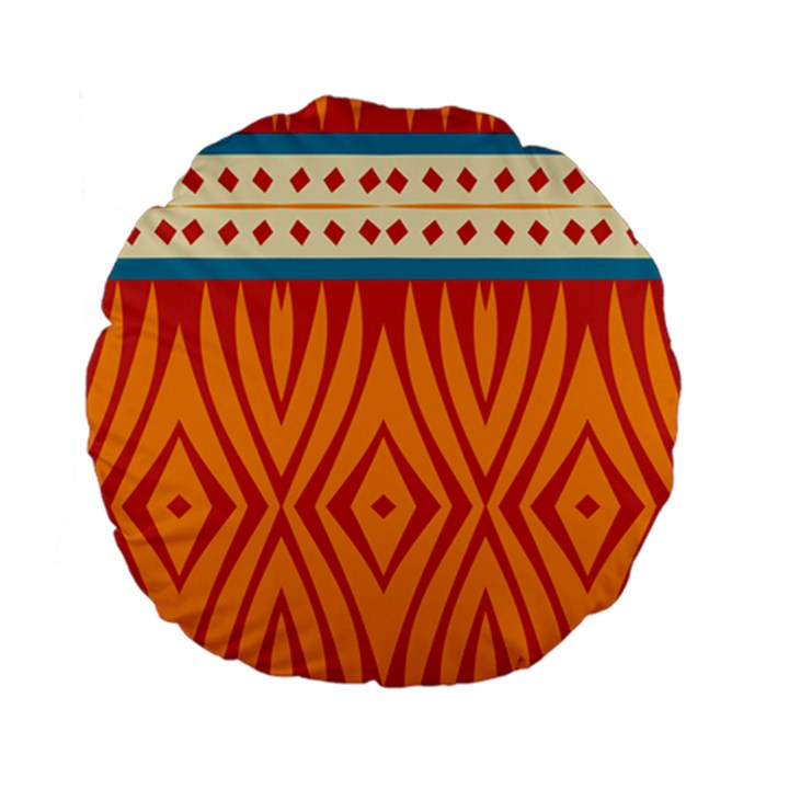Shapes in retro colors Standard 15  Premium Flano Round Cushion