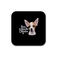 Chihuahua Rubber Square Coaster (4 Pack)  by Valentinaart