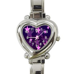 Background With A Stars Heart Italian Charm Watch by Nexatart