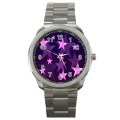 Background With A Stars Sport Metal Watch by Nexatart
