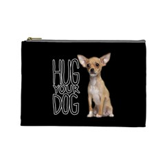 Chihuahua Cosmetic Bag (large)  by Valentinaart