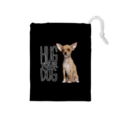 Chihuahua Drawstring Pouches (medium)  by Valentinaart