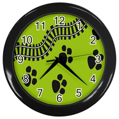 Green Prints Next To Track Wall Clocks (black) by Nexatart
