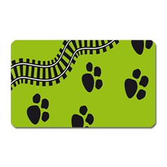 Green Prints Next To Track Magnet (rectangular) by Nexatart