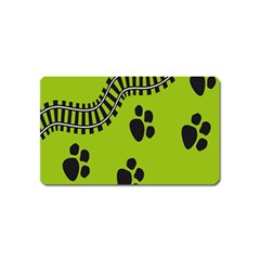 Green Prints Next To Track Magnet (name Card) by Nexatart