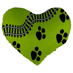 Green Prints Next To Track Large 19  Premium Heart Shape Cushions