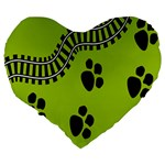 Green Prints Next To Track Large 19  Premium Heart Shape Cushions Back