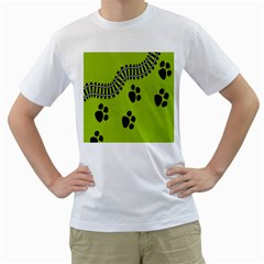 Green Prints Next To Track Men s T Shirt (white)