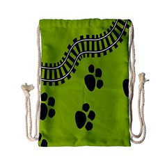 Green Prints Next To Track Drawstring Bag (small) by Nexatart