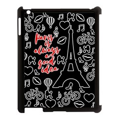 Paris Apple Ipad 3/4 Case (black) by Valentinaart