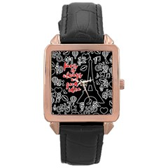 Paris Rose Gold Leather Watch  by Valentinaart