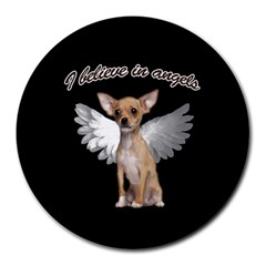 Angel Chihuahua Round Mousepads by Valentinaart