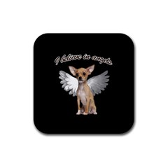 Angel Chihuahua Rubber Square Coaster (4 Pack)