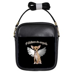 Angel Chihuahua Girls Sling Bags by Valentinaart