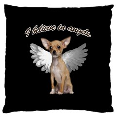 Angel Chihuahua Large Cushion Case (two Sides) by Valentinaart
