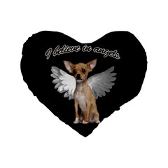 Angel Chihuahua Standard 16  Premium Heart Shape Cushions by Valentinaart