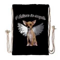 Angel Chihuahua Drawstring Bag (large) by Valentinaart