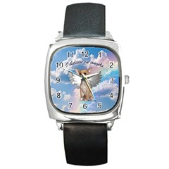 Angel Chihuahua Square Metal Watch by Valentinaart