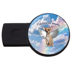 Angel Chihuahua Usb Flash Drive Round (4 Gb) by Valentinaart