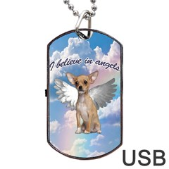 Angel Chihuahua Dog Tag Usb Flash (two Sides) by Valentinaart