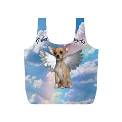 Angel Chihuahua Full Print Recycle Bags (s)  by Valentinaart