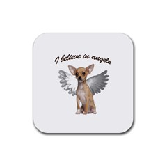 Angel Chihuahua Rubber Square Coaster (4 Pack)  by Valentinaart