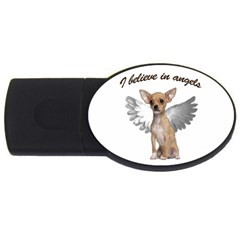 Angel Chihuahua Usb Flash Drive Oval (4 Gb) by Valentinaart